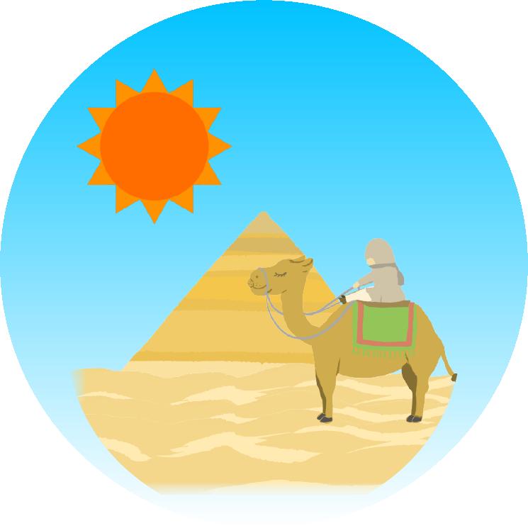 砂漠とピラミッドとラクダのイラスト