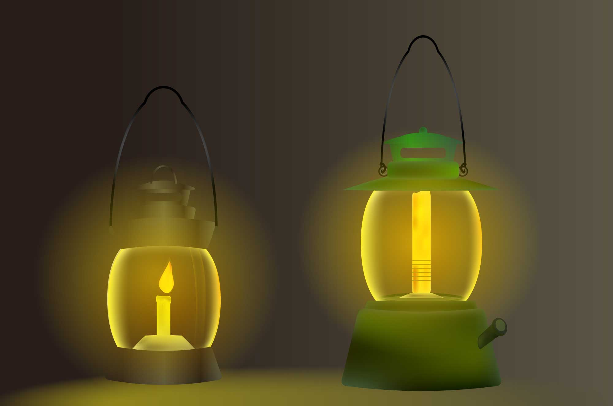 ランタンのイラスト - 闇を照らすキャンプの無料素材