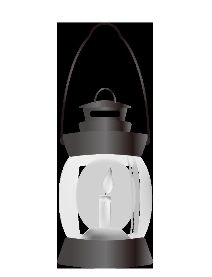 ロウソクランタンのイラスト(白黒)