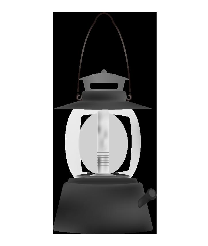 オイル式ランタンのイラスト(白黒)