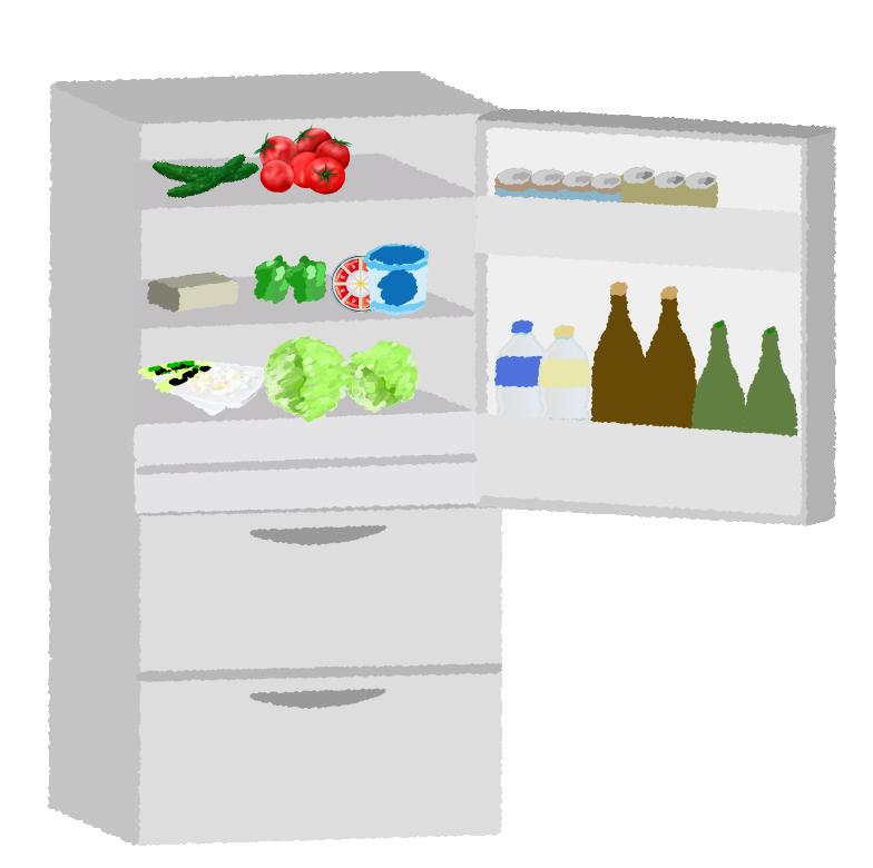食品の入った冷蔵庫を開いたイメージ挿絵