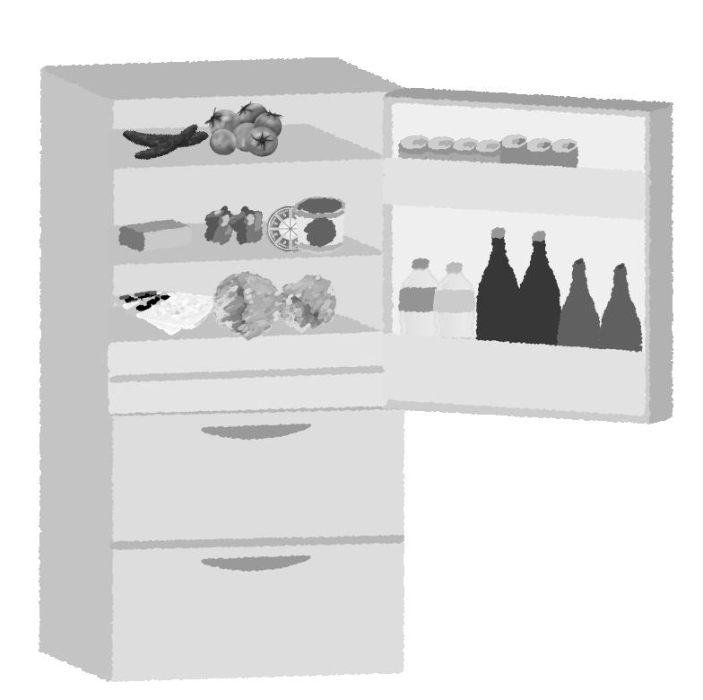 白黒印刷用の冷蔵庫のイラスト