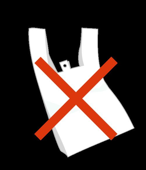 レジ袋と×マークのイラスト
