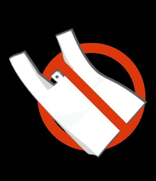 レジ袋と侵入禁止マークのイラスト