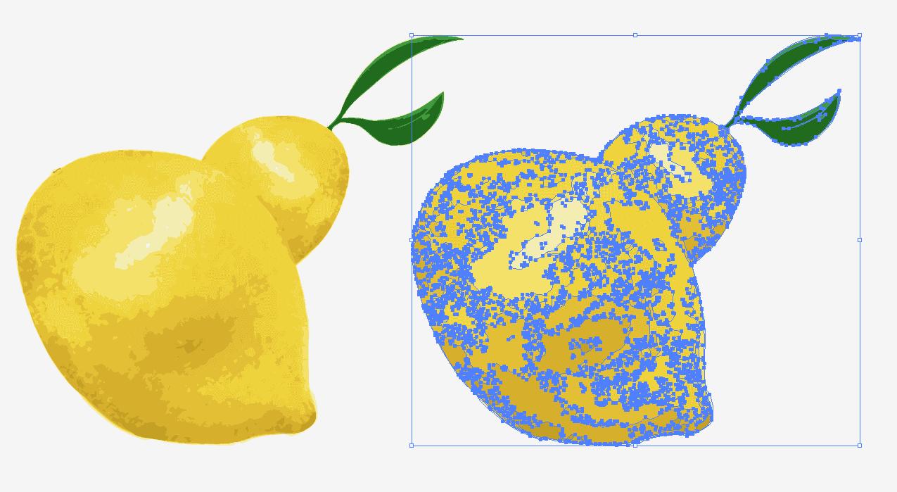 pngからベクター画像に変換されたリアルなレモンのイラスト