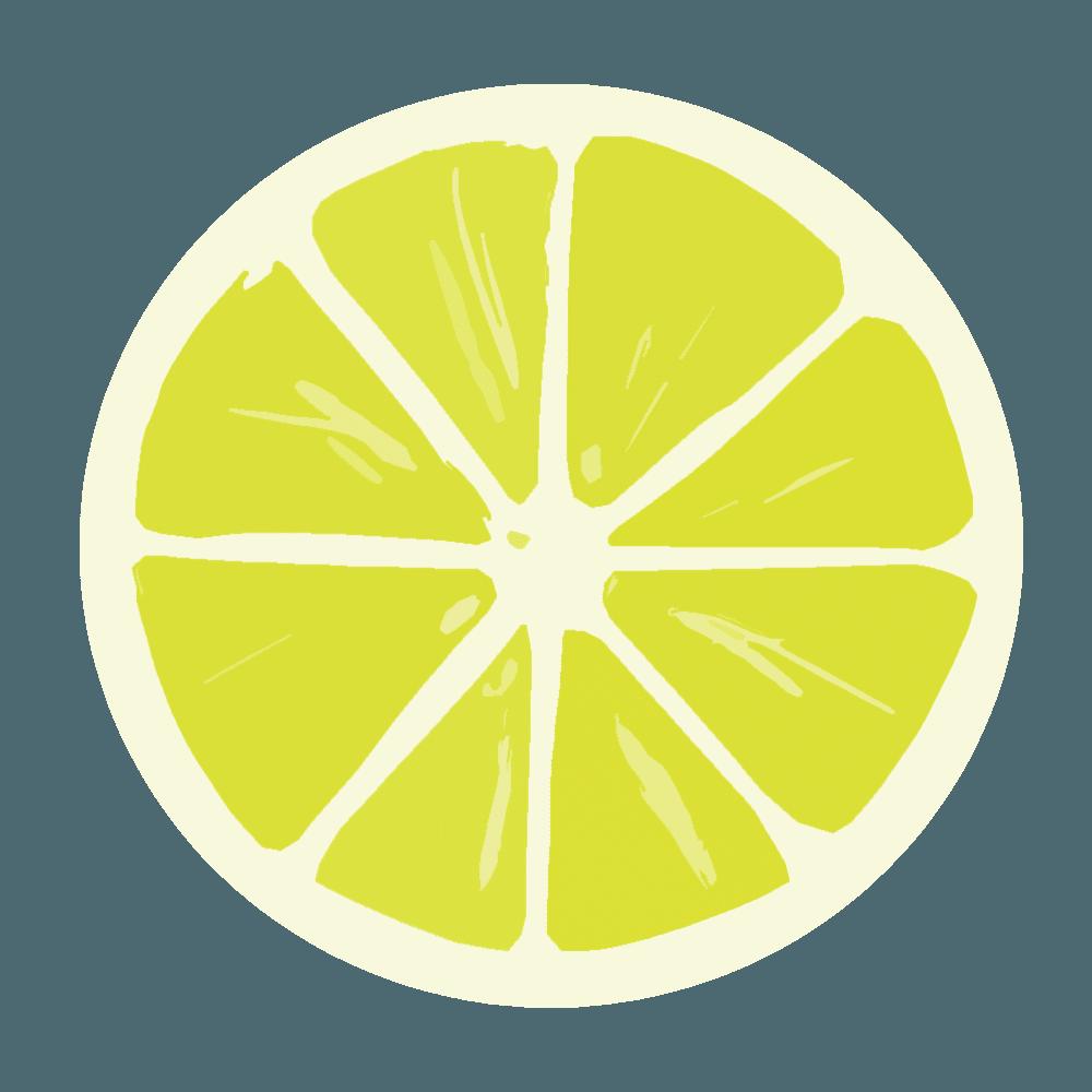 輪切りにしたシンプルなレモンイラスト