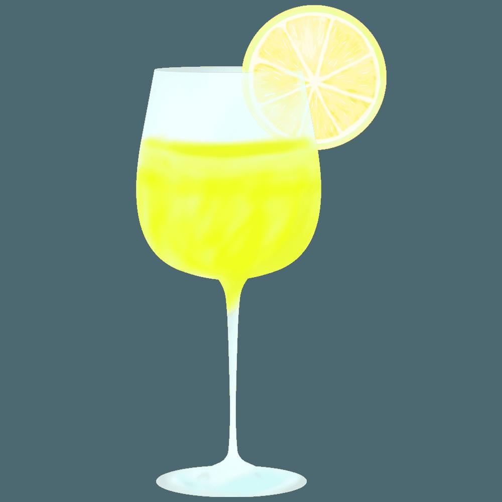 レモンとカクテルグラスのイラスト