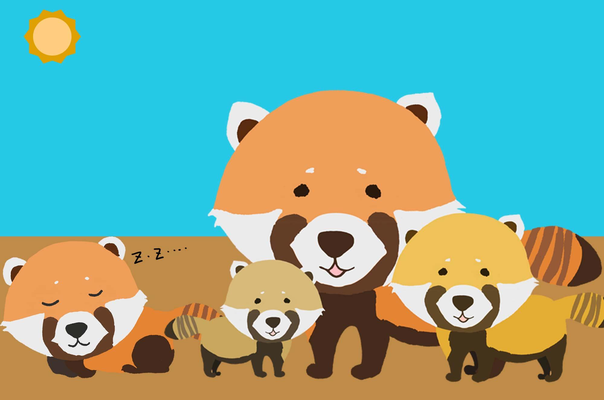 可愛いレッサーパンダのイラスト - おもしろ動物素材 - チコデザ