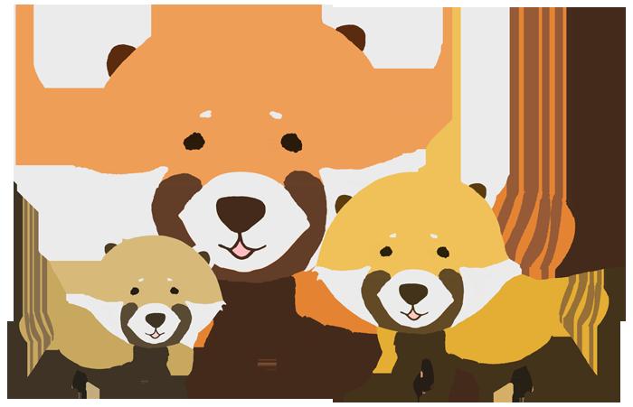 レッサーパンダの親子のイラスト
