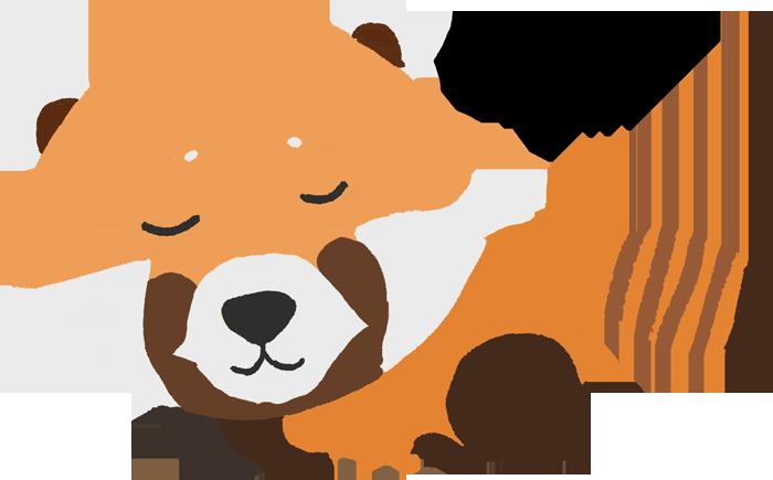 寝ているレッサーパンダのイラスト