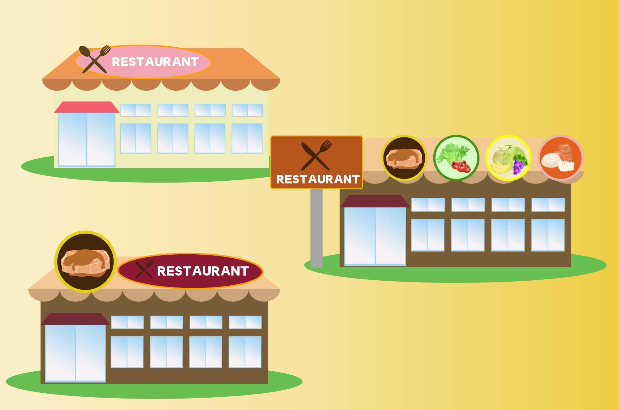 レストランの無料イラスト - 3種の飲食店の建物素材