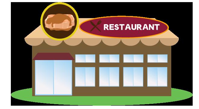 洋風なレストランのイラスト