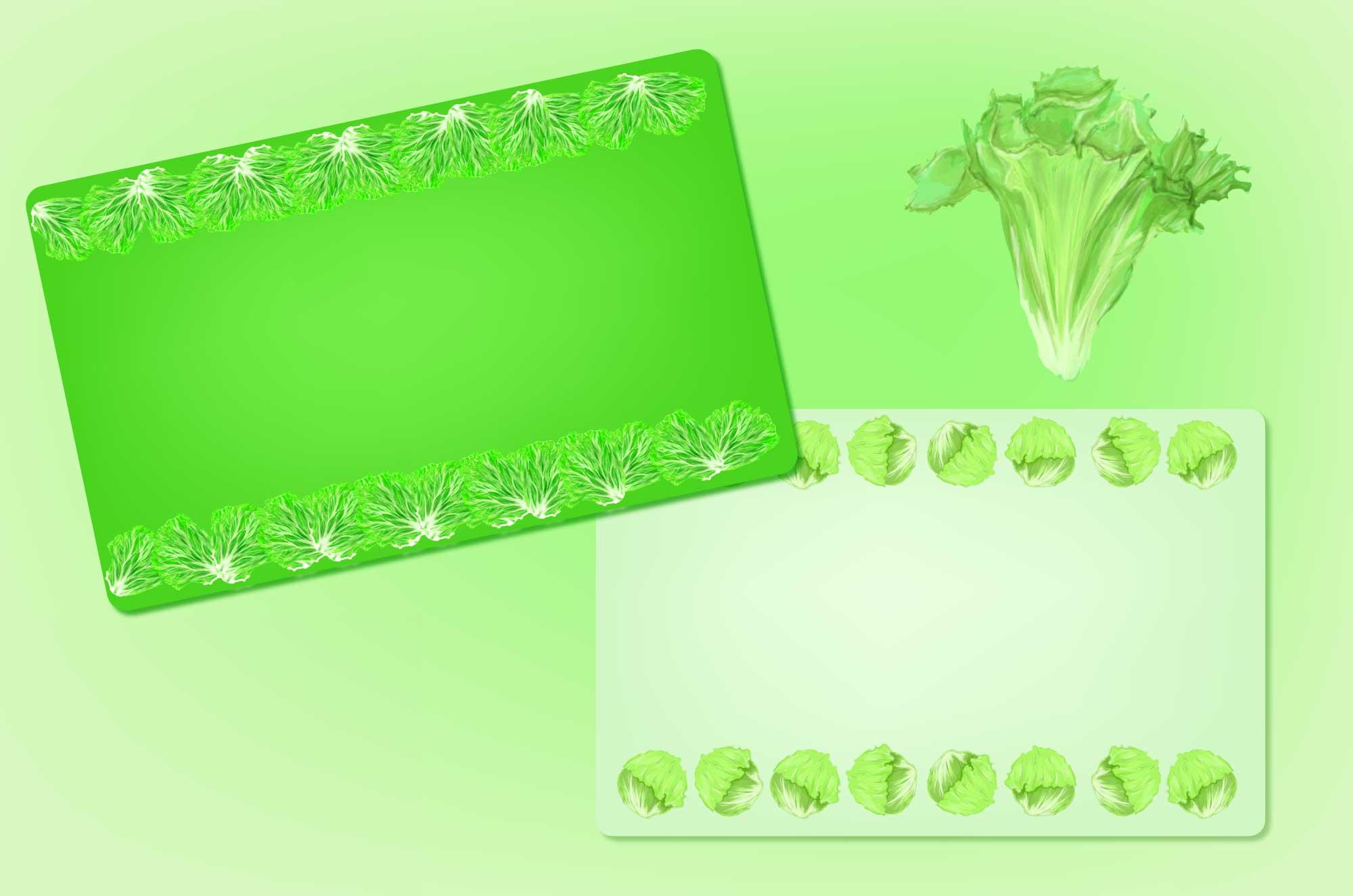 レタスのフレーム無料素材 - 新鮮野菜のカードデザイン