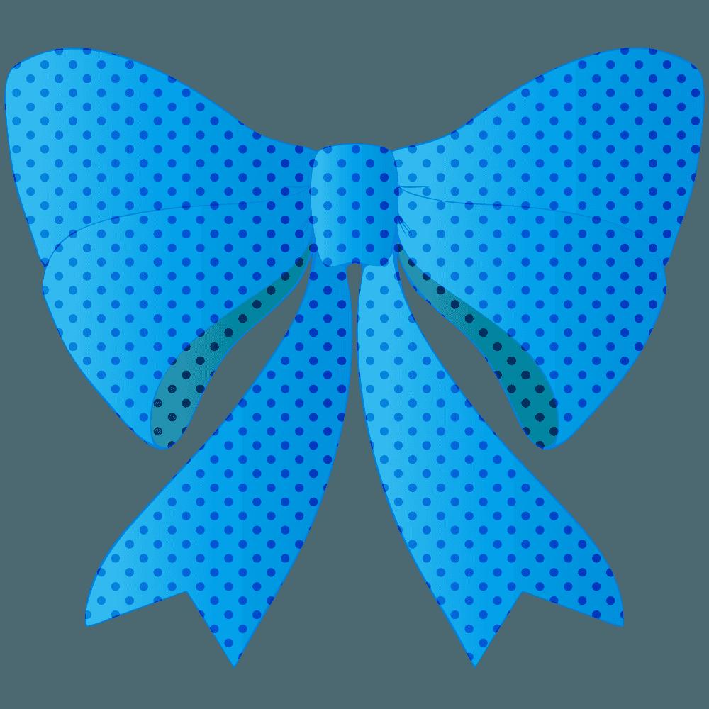 青い水玉のリボンイラスト
