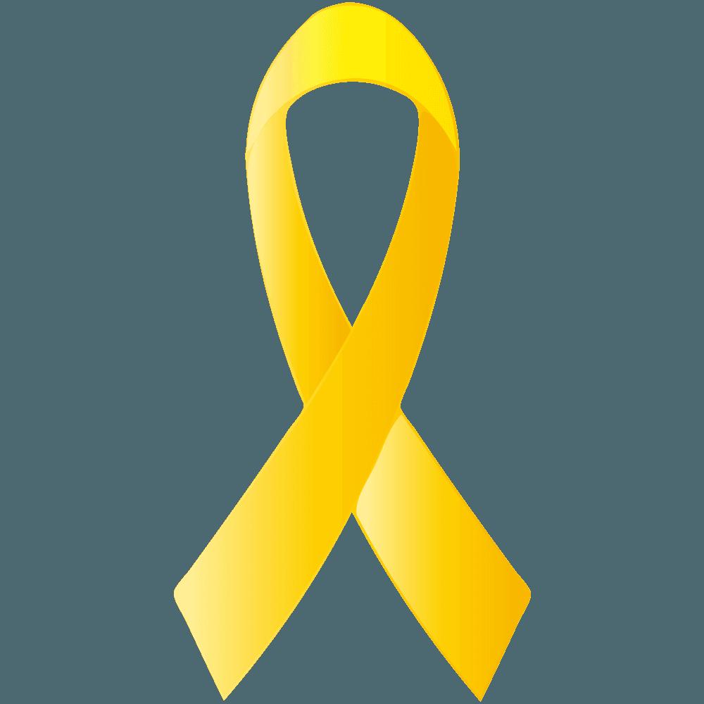 片側一本の黄色いリボンイラスト