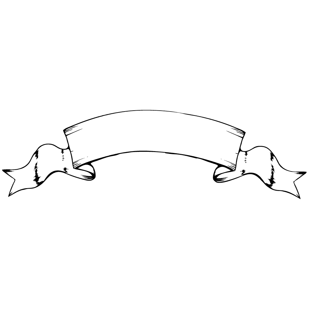 ビンテージバナーリボン線画イラスト