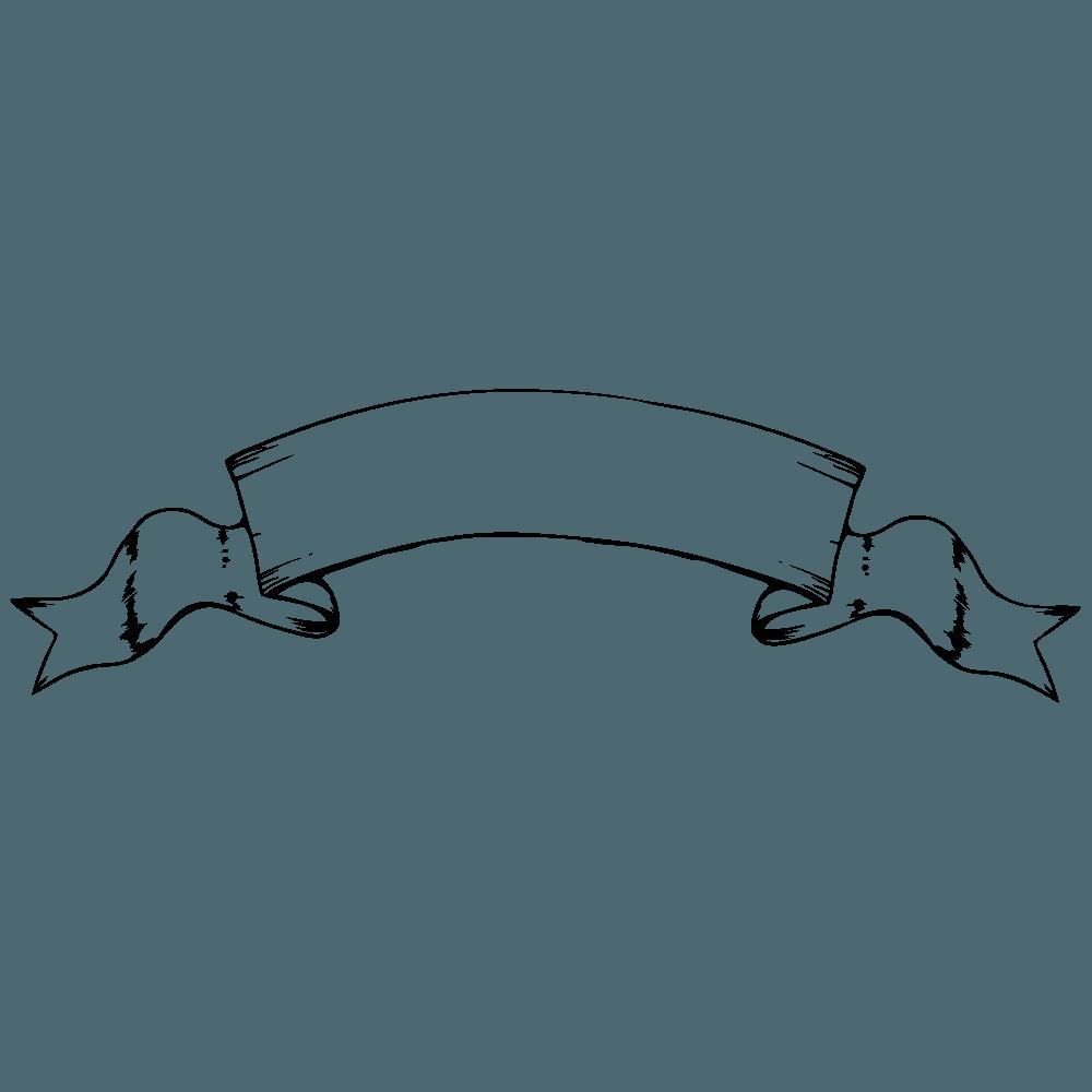 ビンテージバナーリボン線画2イラスト