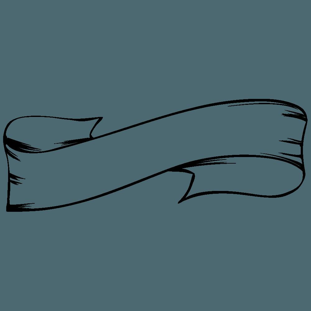 ビンテージシンプル線画リボンイラスト