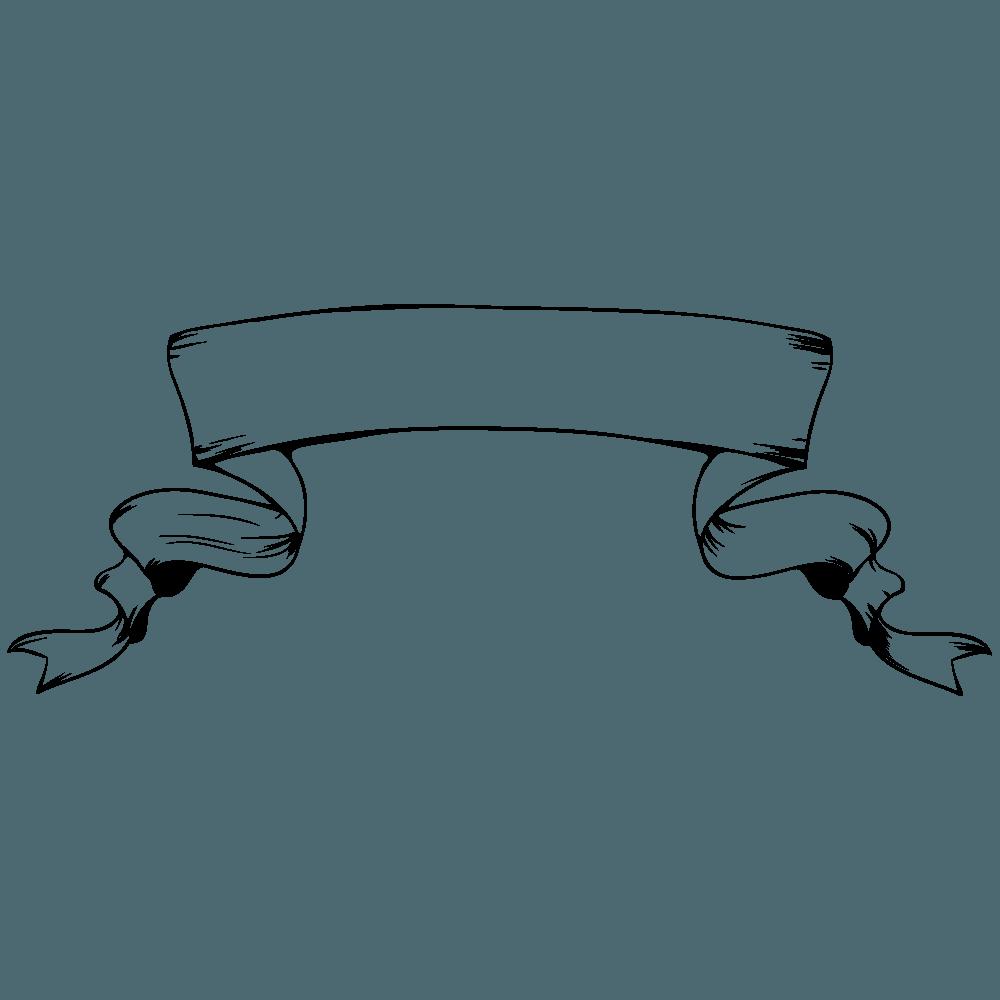 ゴシック風バナーリボン線画イラスト