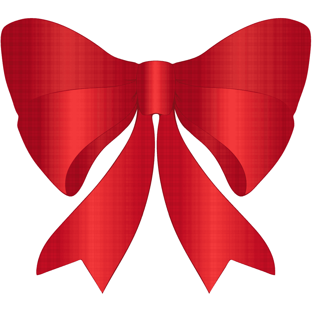 チェック柄の赤いリボンイラスト