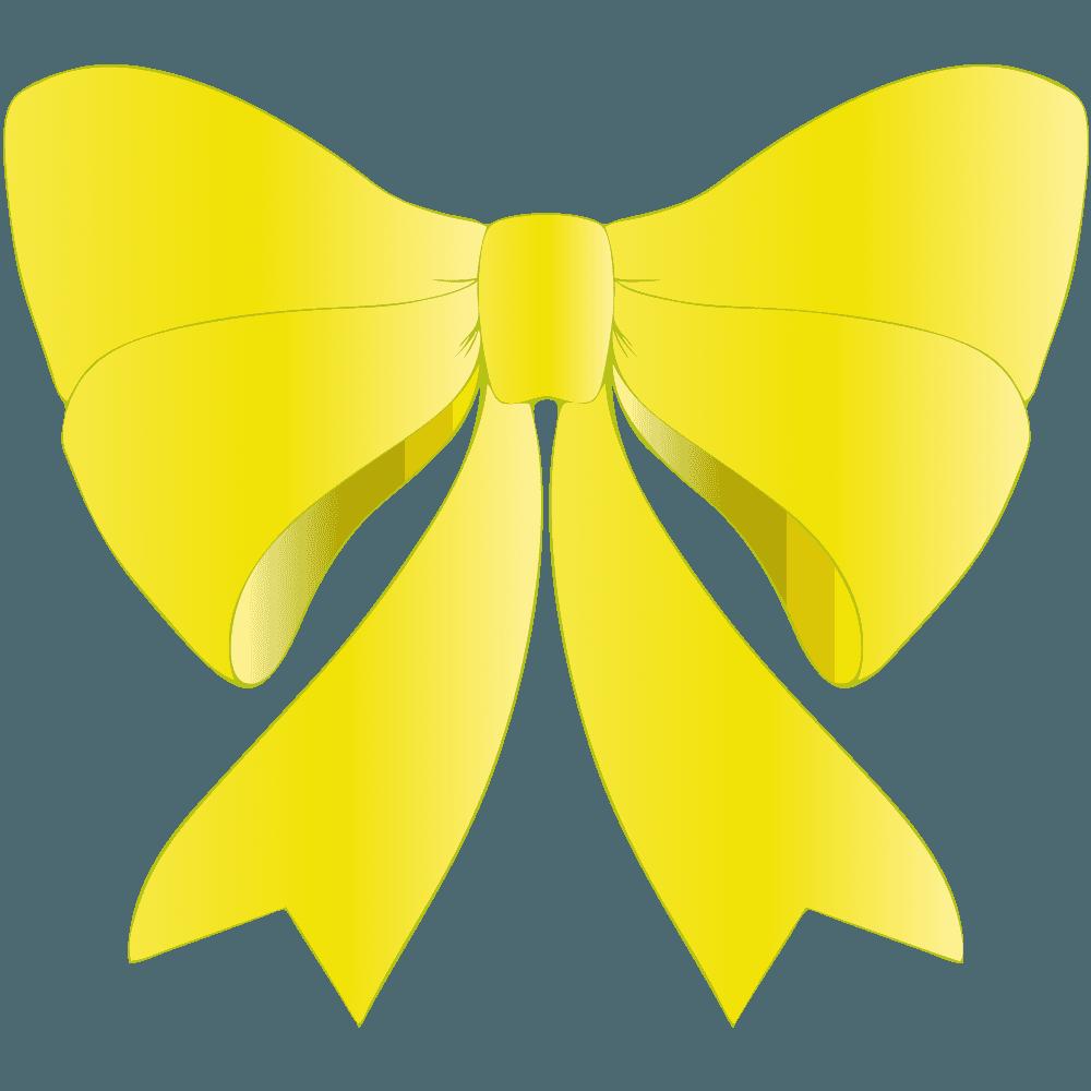 黄色のリボンイラスト