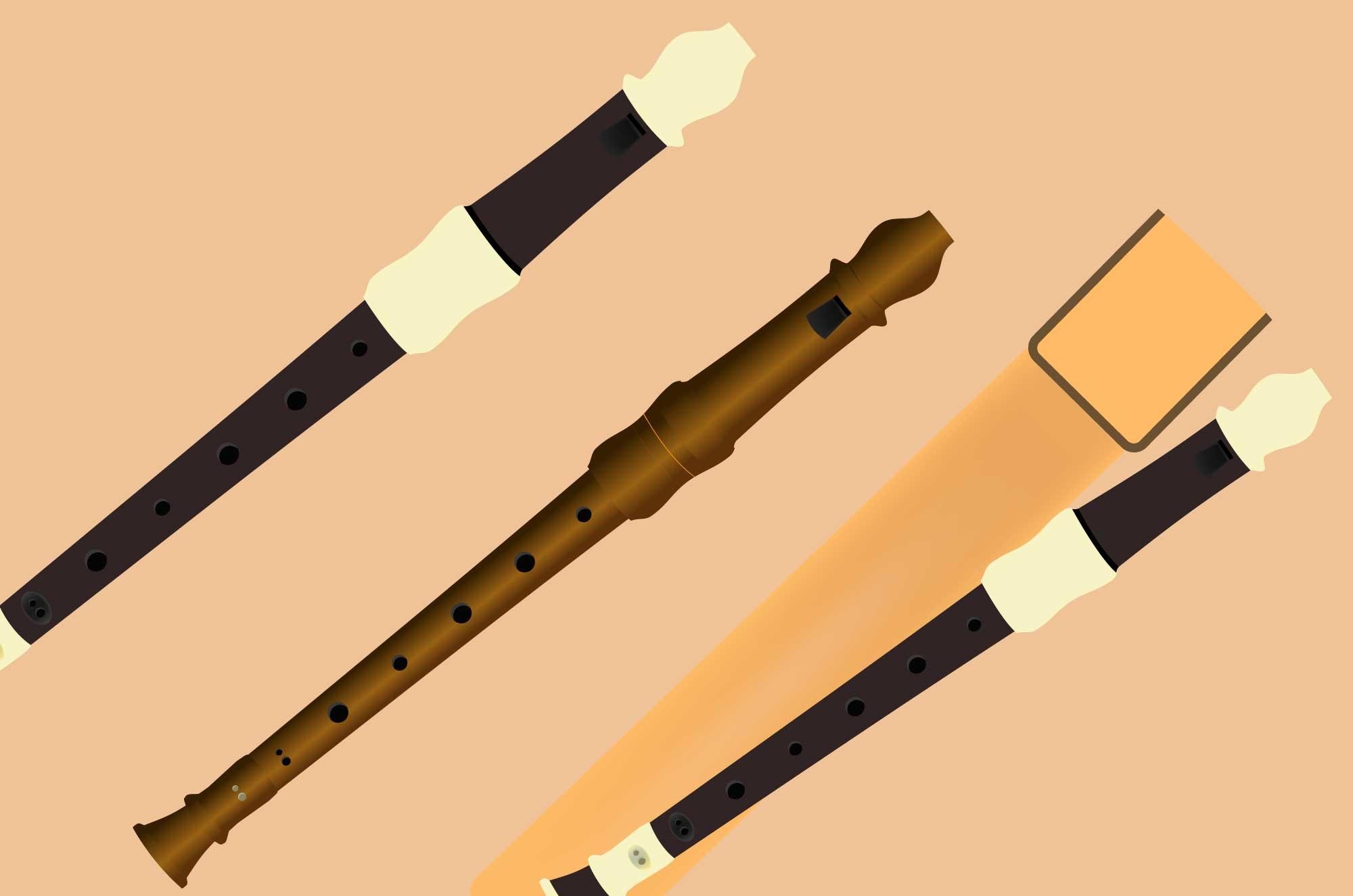 リコーダーの無料イラスト - 学校の縦笛の楽器素材