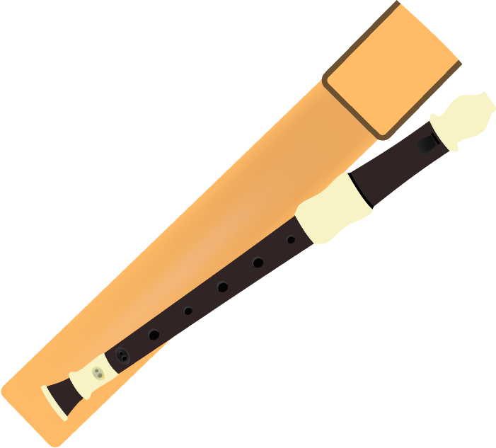 ソプラノリコーダーと笛の袋のイラスト