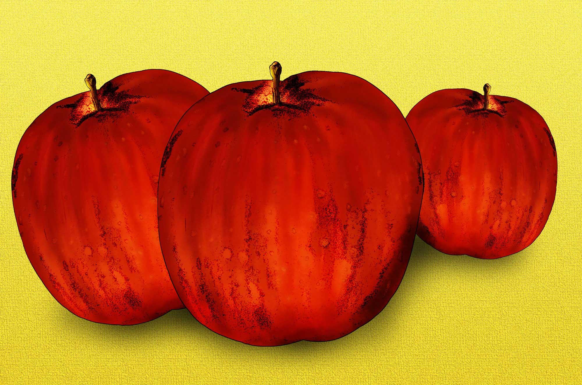 レトロなりんごのイラスト