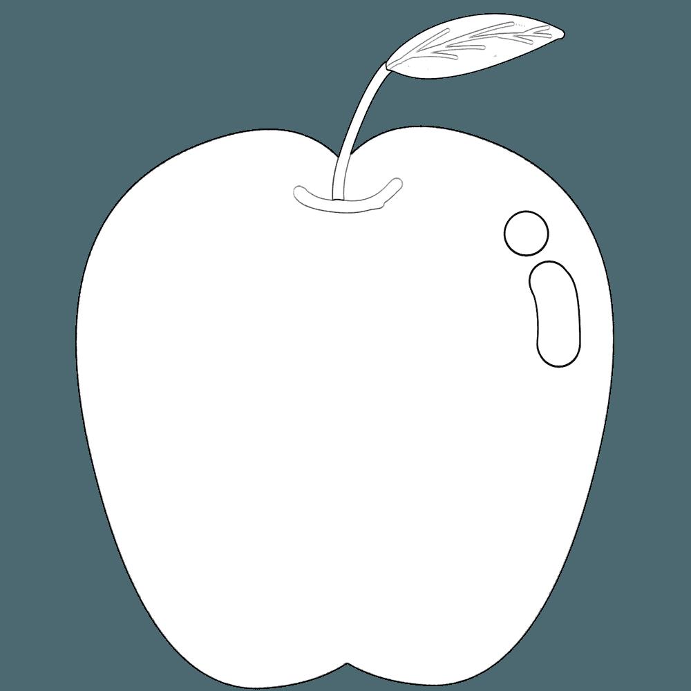 線だけのりんごイラスト