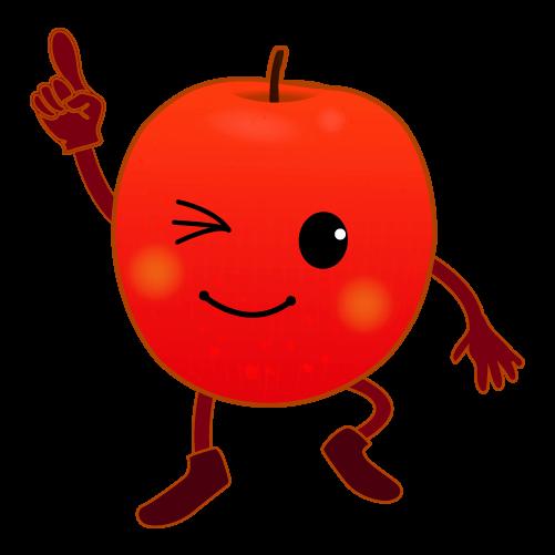 指さすりんごのイラスト