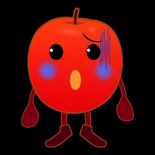 焦るりんごのイラスト