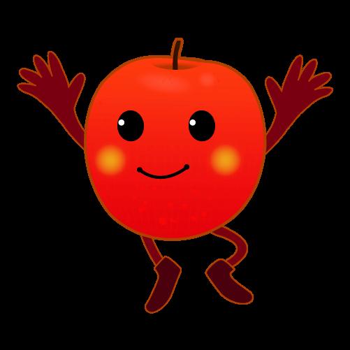 喜ぶりんごのイラスト