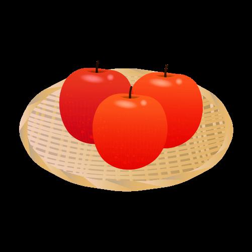 ザルとりんごのイラスト