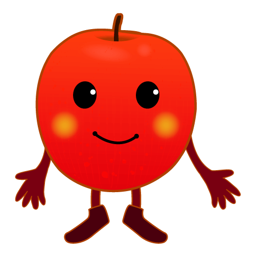 手を開くりんごのイラスト