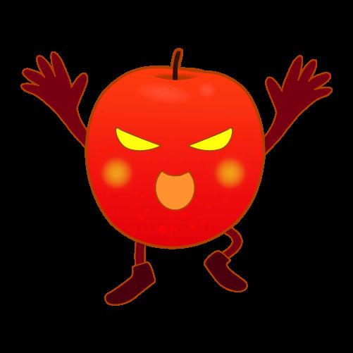 怒るりんごのイラスト