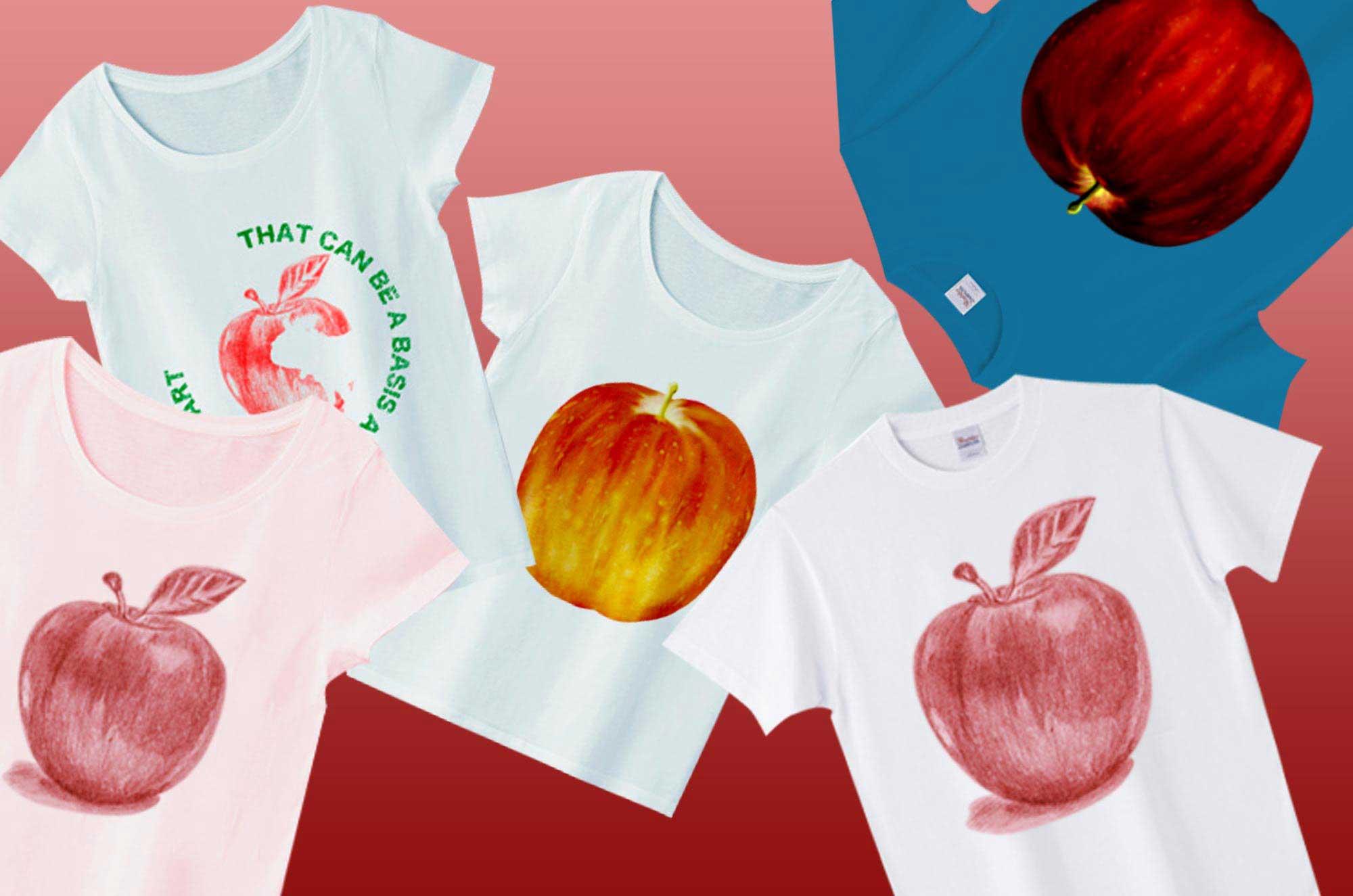 りんごTシャツ - 可愛い果物デザイン手書き風も