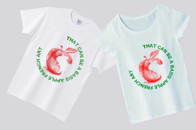 りんごTシャツフレンチブルドッグのモチーフメンズとレディース
