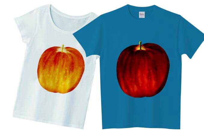 チコデザフリー素材のリアルナりんごのTシャツシャツ