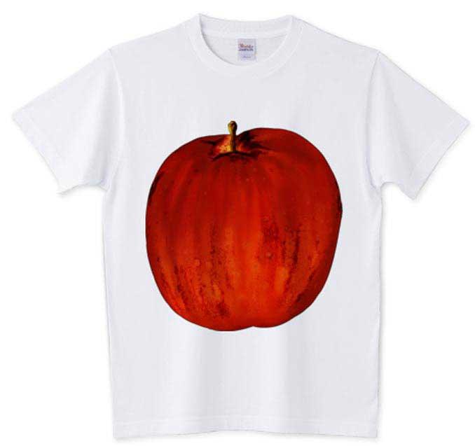 巨大なりんごのデザインTシャツ