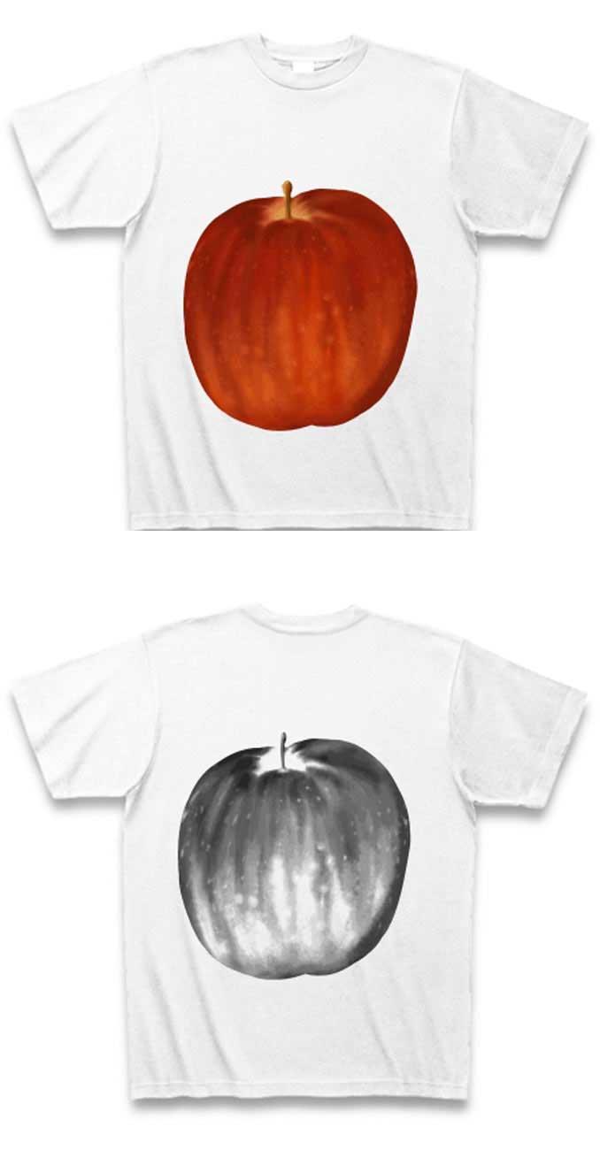 りんごのイラスト両面プリントTシャツ