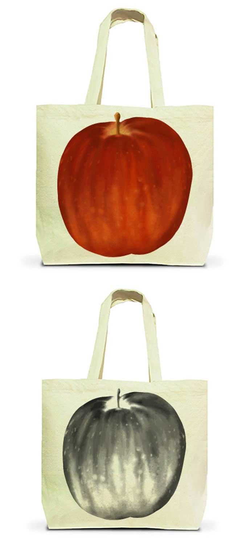りんごの両面トートバッグ