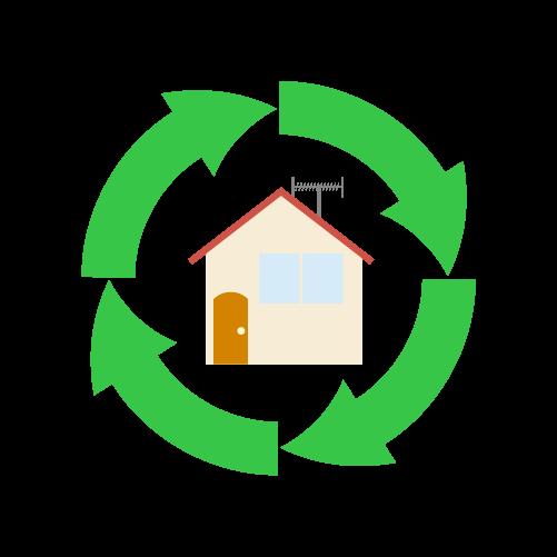 住宅リサイクルのイラスト