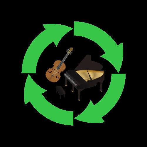 ピアノ・楽器リサイクルのイラスト
