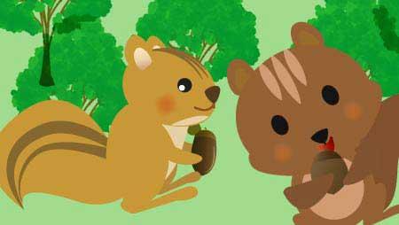りすイラスト - 木の実を持った可愛い森の動物無料素材