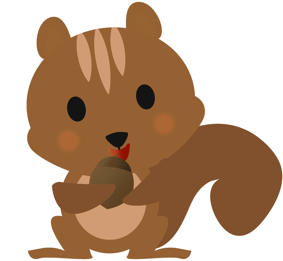 どんぐりを食べるりすイラスト