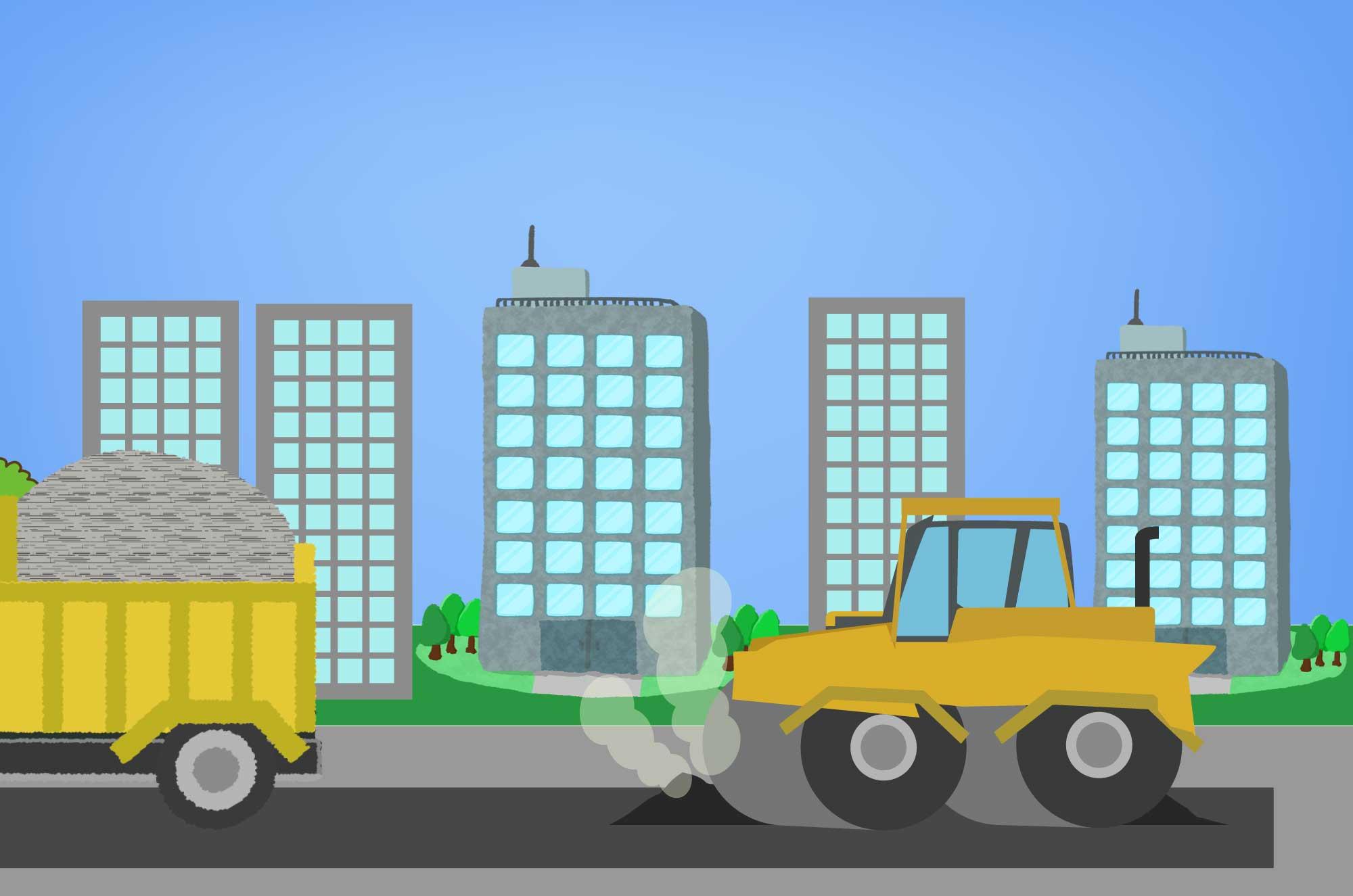 ロードローラーの無料イラスト - 道路を作る車の素材