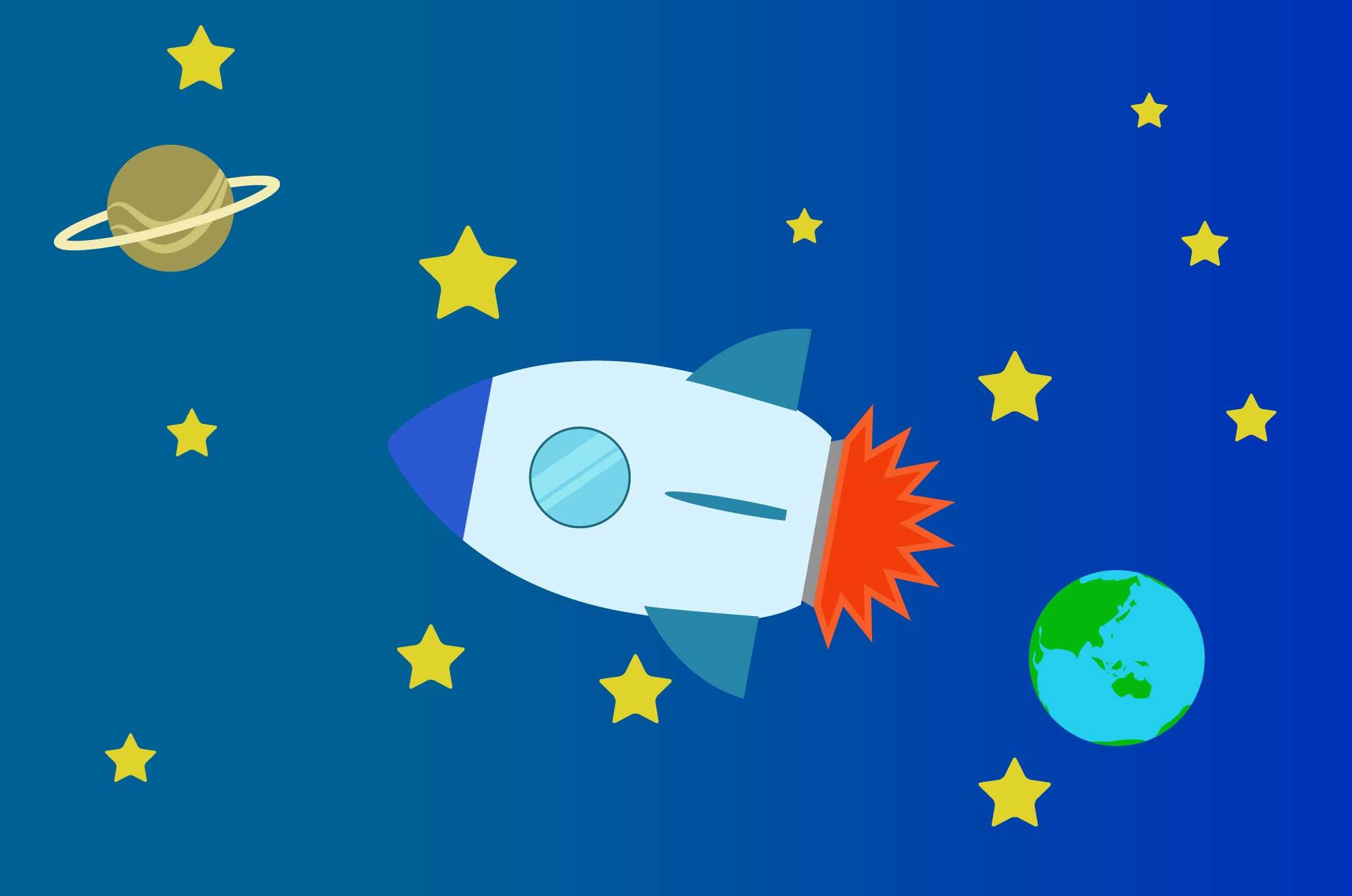 ロケットの無料イラスト - 宇宙の乗り物素材
