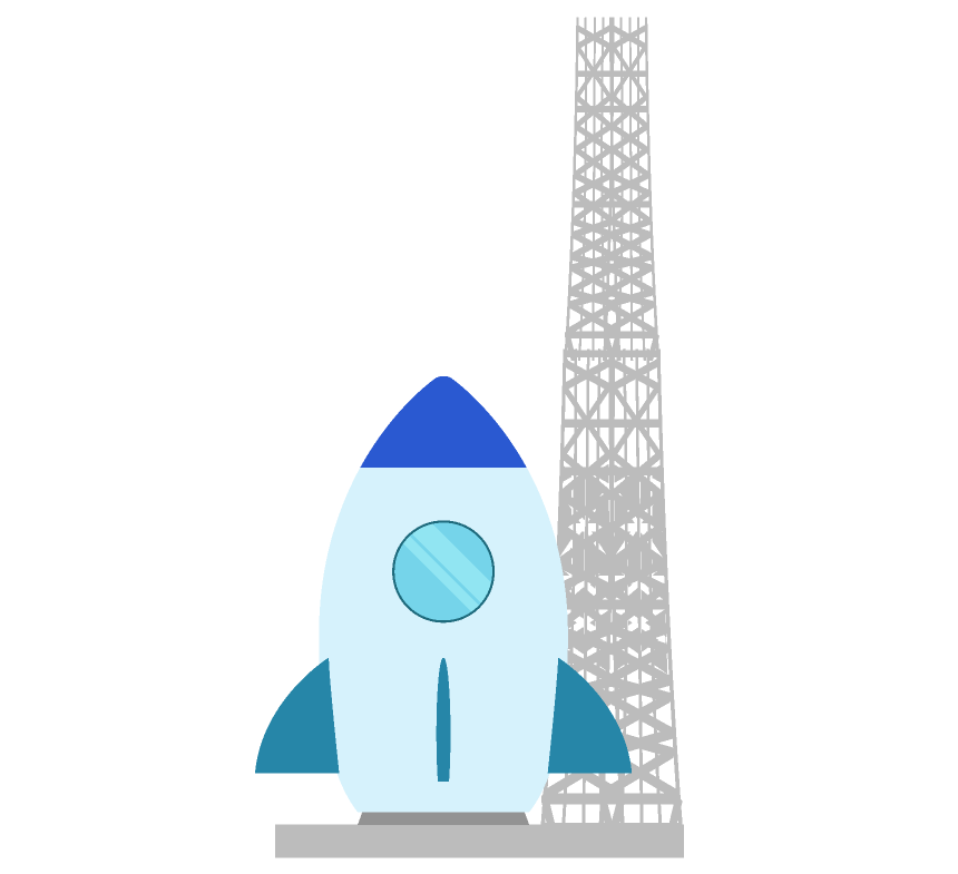 ロケットと発射台のイラスト