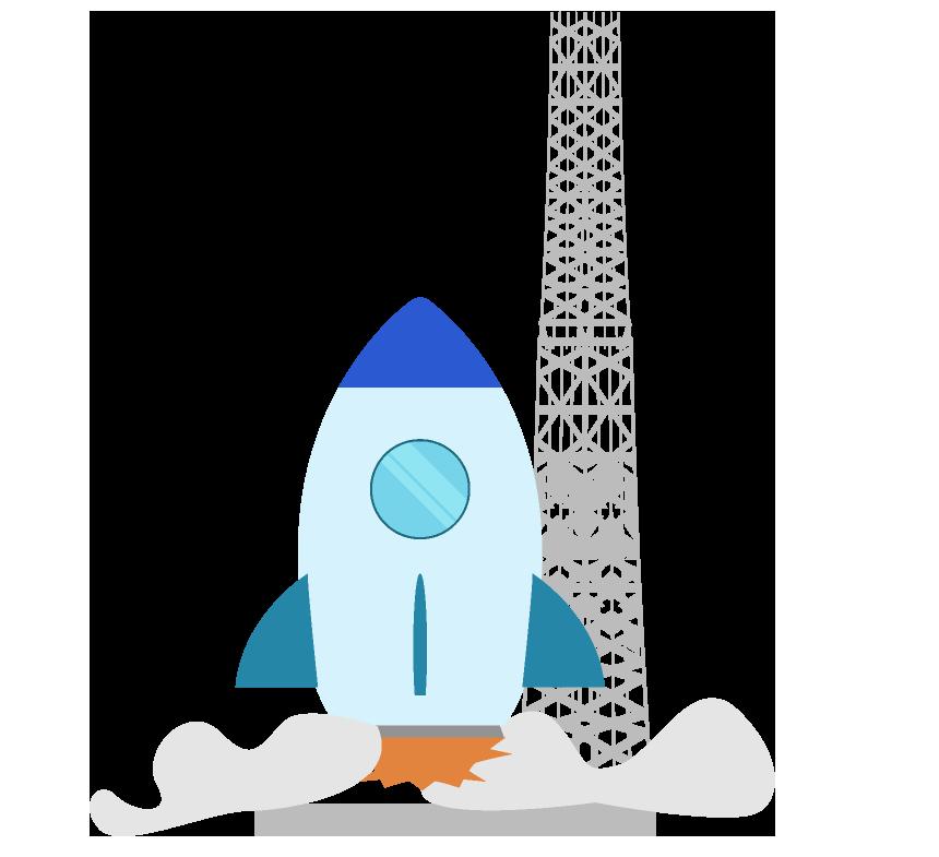 飛び立とうとするロケットのイラスト