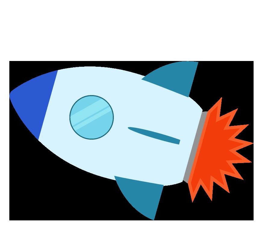 飛んだロケットのイラスト